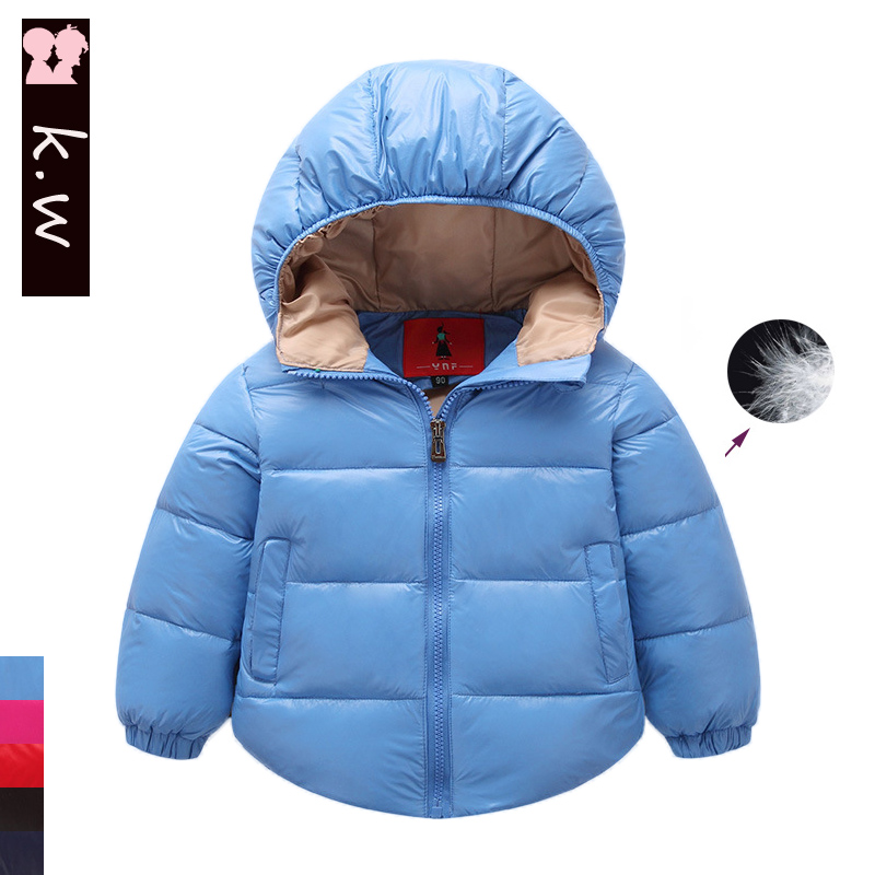 Brand KW Children Clothing Girls Boys Warm Hooded Down Coat 2016 Winter White Duck Down Jackets