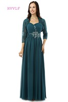 Dark Blue Plus Size 2017 Mother Of The Bride Dresses A-line Beaded With Jacket Wedding Party Dress Mother Dresses For Wedding