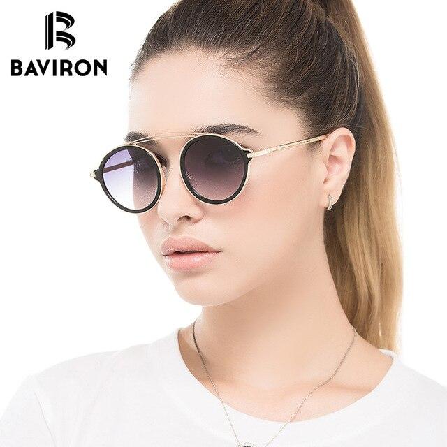7bdccad49a950 BAVIRON Rodada Lindo Óculos De Sol Para As Mulheres Placa Espelhado  Colorido Moda Óculos de Sol
