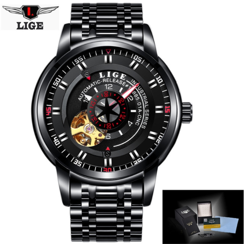 New LIGE Brand Men's Fashion Business Automatic Watches Men Full Steel Waterproof Sport Watch All Black Clock Relogio Masculino lige brand men s fashion automatic mechanical watches men full steel waterproof sport watch black clock relogio masculino 2017