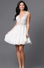 Elegante Frauen Scoop Neck Lace Short Prom Kleid Luxus Kurze Spitze Cocktailkleider 2016 Weiß Günstige Formale Kleid Mit Perlen