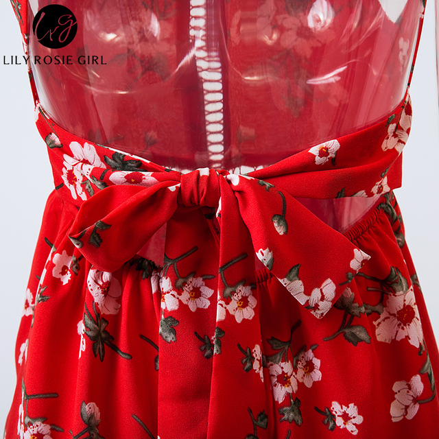 Lily Rosie Girl Off Shoulder Red Floral Print Halter Playsuit Women Sexy Summer Beach Boho Short Rompers Party Jumpsuits Overall