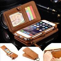 נרתיק עור באיכות רוכסן ארנק כרטיס אשראי תיק כיסוי עבור iPhone 7 6 6 S בתוספת לסמסונג גלקסי קצה S6 S8 S7 פלוס הערה 7 5