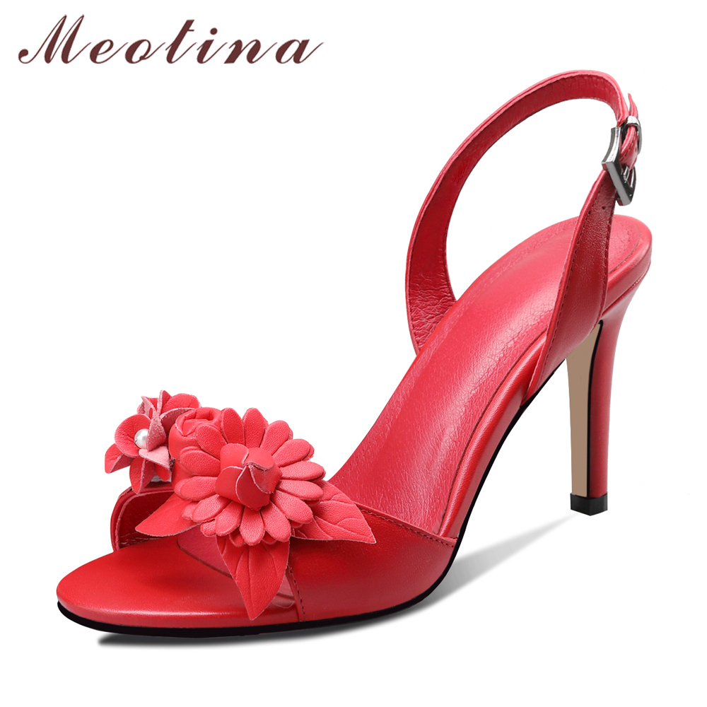 Meotina Summer Sandals Women Shoes Natural Genuine Leather Flower Thin Heels Wedding Shoes Buckle Super High Heel Sandals Red 39Meotina Summer Sandals Women Shoes Natural Genuine Leather Flower Thin Heels Wedding Shoes Buckle Super High Heel Sandals Red 39