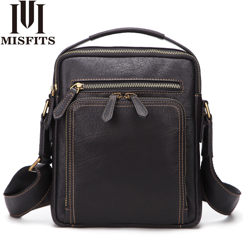 MISFITS Men Messenger Bag Genuine Leather Fashion Shoulder Bag Travel Crossbody Bag High Quality Casual Handbags For 9.7 Ipad