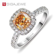 GIGAJEWE Golden 1.0ct Cushion Cut Diamond Test Passed Moissanite 18K Gold Plated 925 Silver Ring Jewellery Women Girlfriend Gift(China)