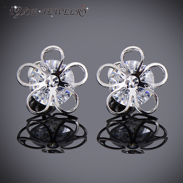 White Gold Studs made with Crystal Round Stud Earrings for Women Girls NvlUFNGb4