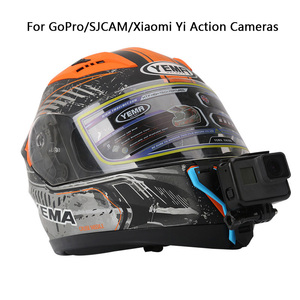 Image 2 - Motorcycle Helmet Chin Bracket For Gopro SJCAM Xiaomi Yi Action Camera and iPhone Samsung Huawei Mount Phone holder Accessories