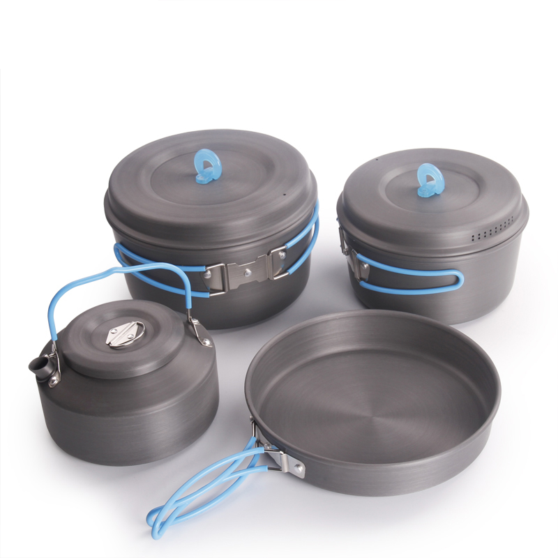 Ultralight Camping Cooking Pans Tableware Foldable Handle Camping Cookware Set 2 3 Pepoles