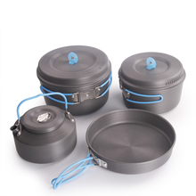 Ultralight Camping Cooking Pans Tableware Foldable Handle Camping Cookware Set 2-3 Pepoles
