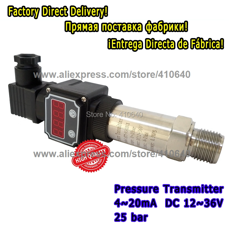 Pressure Transmitter 4 to 20mA With Display 25 Bar G1/2 Port Pressure Sensor Pressure Transducer Accept Other Pressure Range non cavity pressure transmitter transducer pst na