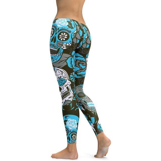 e6649894cc4 Skull Printed Leggings Women s Black Leggings Skull flower Digital Print  Pants Casual Sporting Fitness Trousers Plus Size