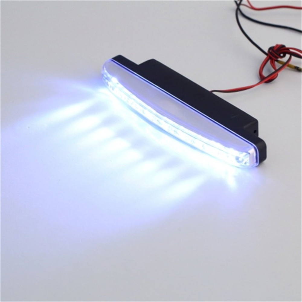 Icoco quente 2 pces universal 12 v 8led carro luz diurna running luz de nevoeiro lâmpada 6000 k-7000 k luz branca brilhante super auxiliar lâmpada
