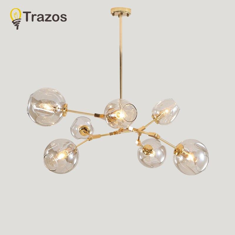 Дизайнерские Люстры В скандинавских ветвях идеи Подвесная лампа стеклянный шар лампа droplight пост-современное искусство