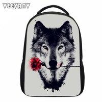 VEEVANV Cool Wolf Printing Backpacks Men's Backbacks Teenage Street Rock Bags Casual Punk Laptop Rucksack School Shoulder Bags