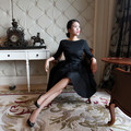 Las mujeres de la vendimia 1950 s audrey hepburn elegante little black dress cuello barco manga larga midi oscilación vestidos más del tamaño vestidos jurken