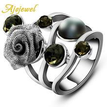 Ajojewel оригинальные Стильные черные кольца с искусственным