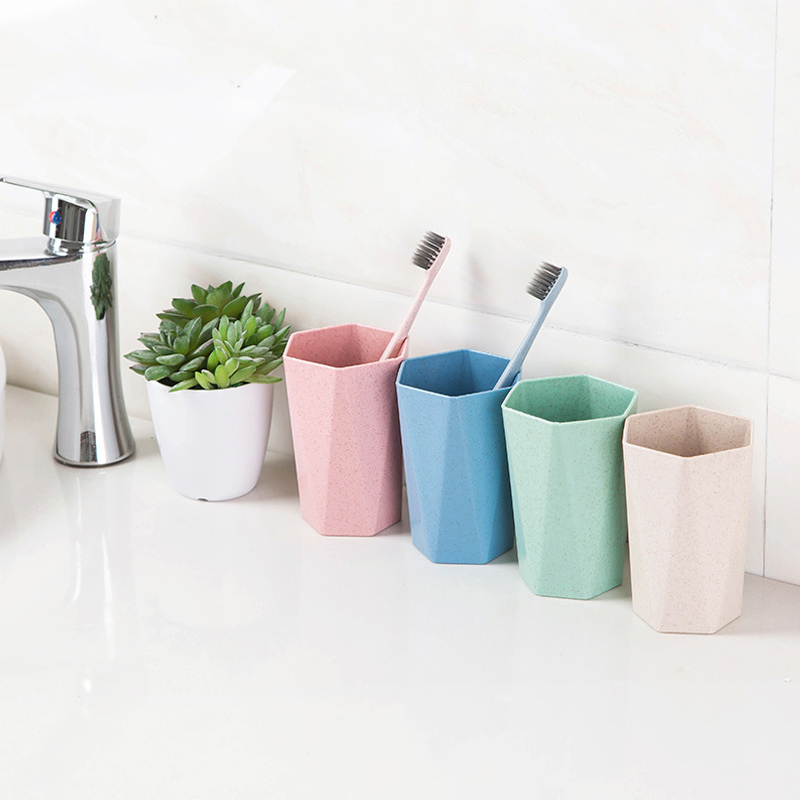 Nordic Wind Drinking Water Cup Wash Cups Toothbrush Holder Home Bathroom Products Geometry Mouthwash Cup 1 Pcs Wheat Straw