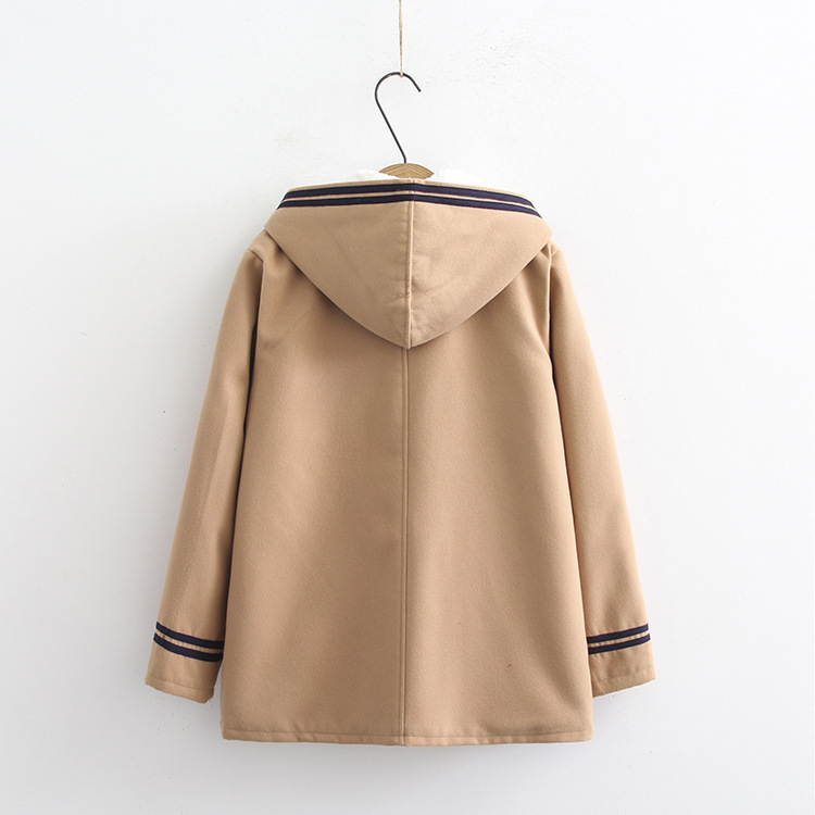 Female Horn Button Wool Plus Fresh Embroidery Blue Fluff Wind navy Animal Japanese Coat Khaki Hooded Small College Wild S6q0gw