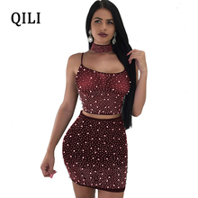 QILI 3 Piece Set Beading Diamonds Mesh Sexy Dress For Women Nightclub Backless Bandage Mini Dresses White Black Wind-red