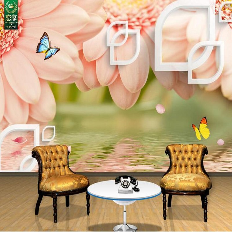 Free Shipping 3D Chrysanthemum Background Wallpaper Bedroom Living Room Video Wall European MuralChina