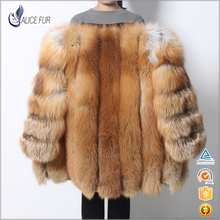 Free Shipping Natural Color Red Fox Fur Jacket Red Fur Coat