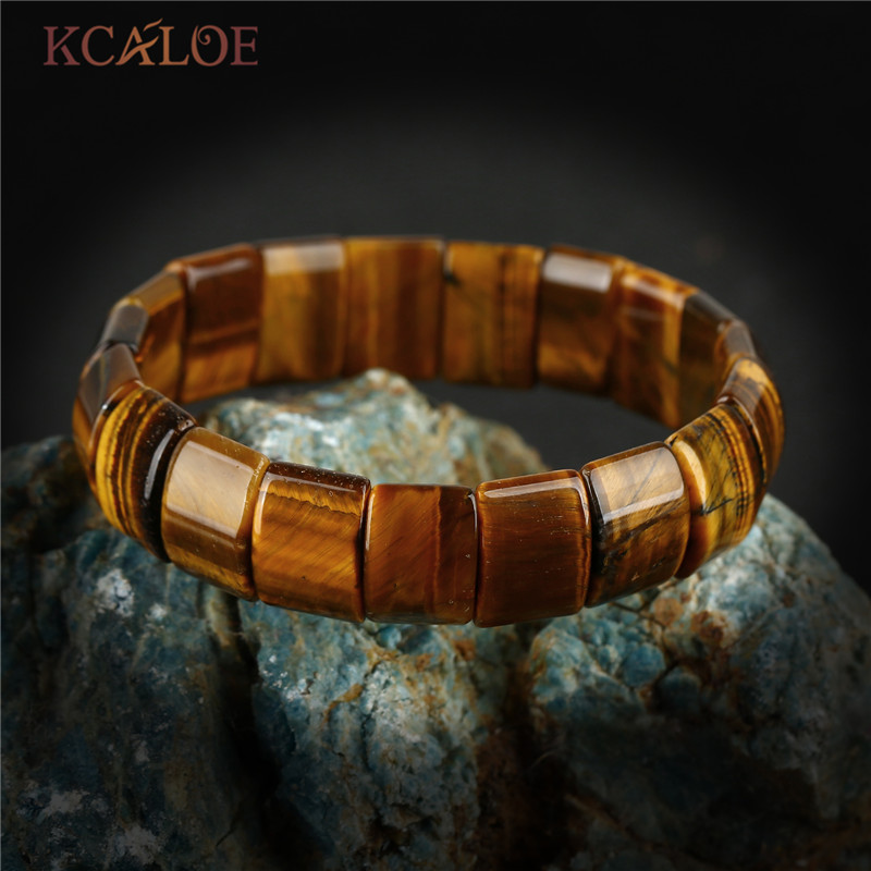 KCALOE Unisex Natural Stone Charms Bracelet Square Tiger Eye Stone Elasticity Stretch Vintage Bracelets Bangles For Women Men new men bracelet 8mm tiger eye stone