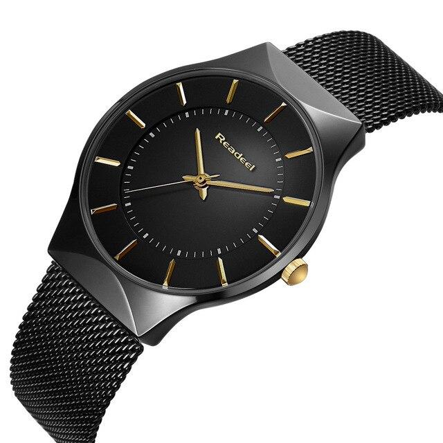 b6719eea93ad Reloj Readeel de acero resistente al agua para hombre reloj de pulsera de cuarzo  deportivo informal