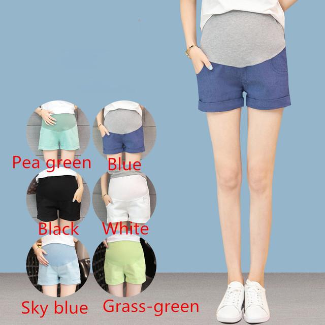 2016 Nuevos Pantalones Cortos de talle alto Elástico de Maternidad de Maternidad Del Verano Pantalones Cortos para Las Mujeres Embarazadas Embarazadas Cómodos Shorts B86