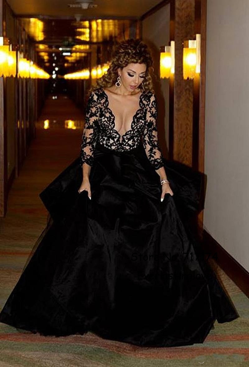 Sexy Long Sleeve Black Prom Dress Front Side Slit Nice Ball Gown V