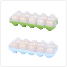 E-doo Egg Storage Box Plastic Fridge Tray Slots Holder with Lid Stackable Carrier for BBQ Outdoor Picnic