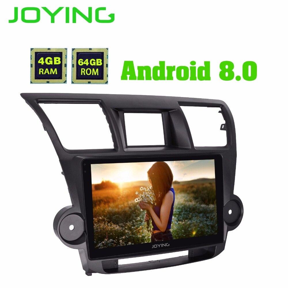 Lecteur audio radio de voiture JOYING 2 din Android 8.0 4 GB octa core 10.1 ''IPS écran GPS système wifi pour Toyota Highlander 2009-2013