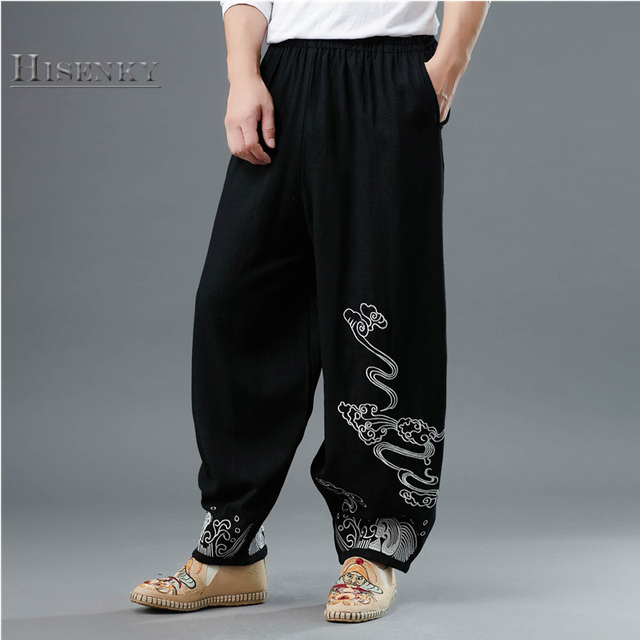 124f7bab2b2aa Hisenky Men s Casual Coarse Linen Pants Elastic Waist Chinese Ethnic  Micro-Lace Embroidered Colorful Cloud Loose Trousers