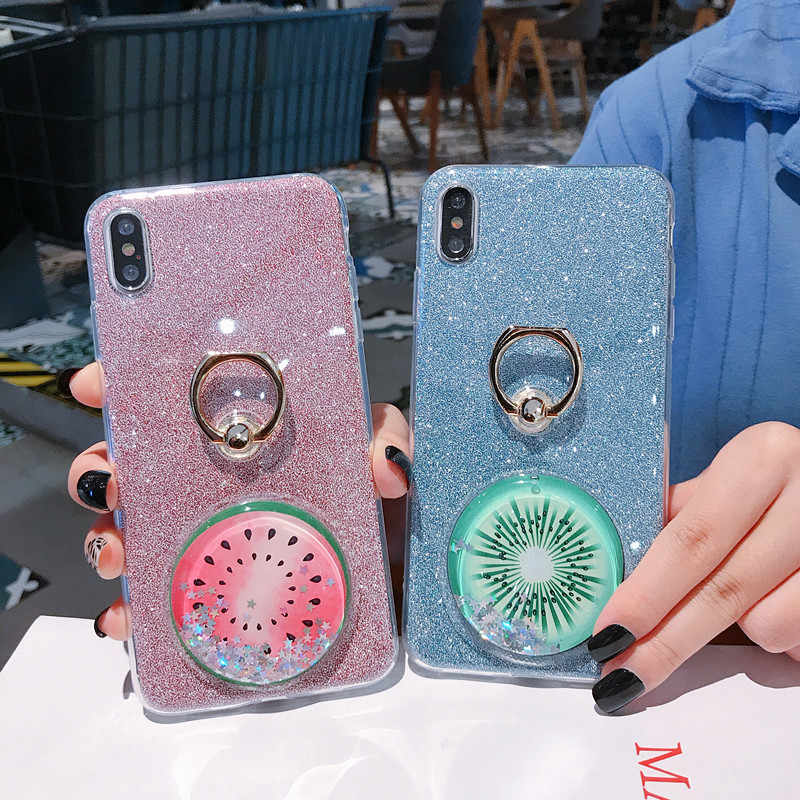 Quicksand Cases For Samsung Galaxy S10 S9 S8 Plus S10E S5 S7 S6 Edge Plus Note 9 8 5 10 Pro Bling Ring Fruit Summer Cover Bumper
