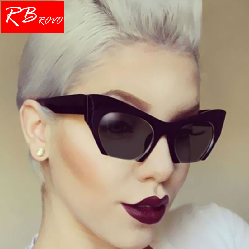 RBROVO 2018 Semi-Rimless Cat Eye Sunglasses Women/Men Vintage Glasses UV400 Outdoor Candy Color Driving Shopping Glasses