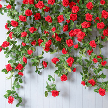 цена на yumai 175cm 12 Heads Artificial Vine with Roses Flowers Wall Hanging Garland for Wedding party Decor Home Garden Decor