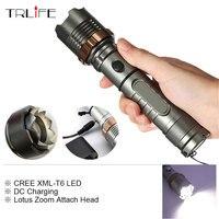 Lotus Attacher La Tête CREE XM-L T6 5 modes LED Tactique lampe de Poche Mécanique Zoom Torche Étanche Chasse Flash Lumière Lanterne