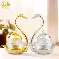1 Piece Gold And Sliver Sugar Jar Saltcellar Glass With Spoon For Coffee Berry Jam Syrup