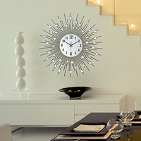 Clock wall clock modern diamond metal wall clock quieten fashion brief fashion personality