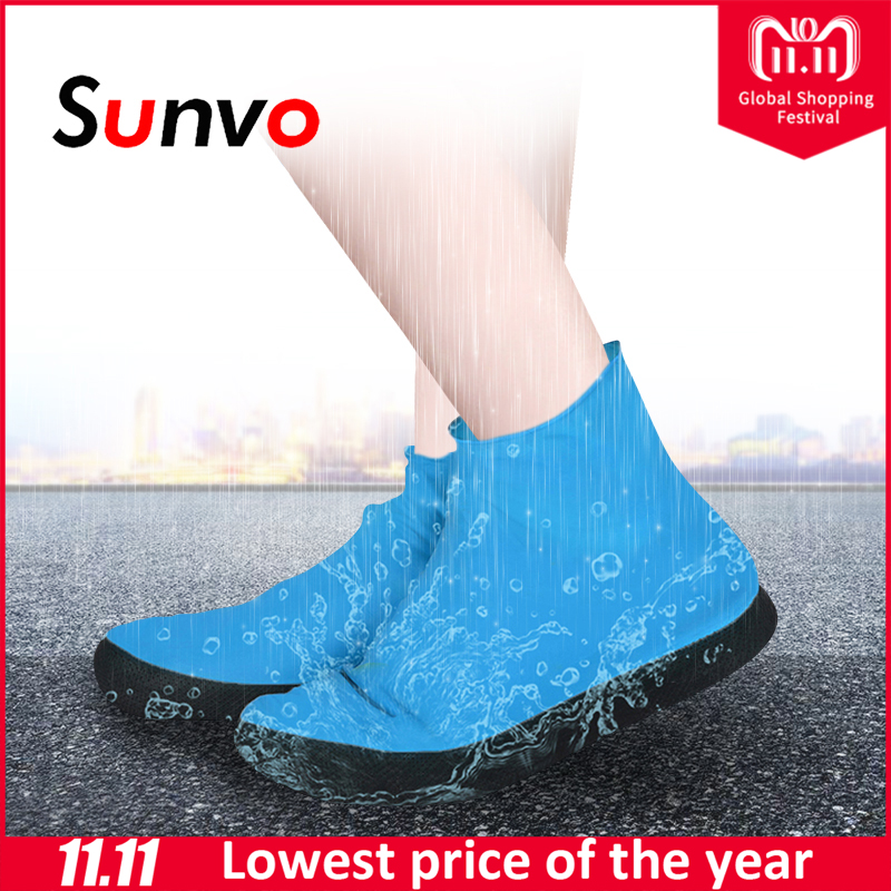Sunvo Rubber Thicken Rain Shoe Cover Reusable for Men Women Shoes Waterproof Blue Elasticity Overshoes Boots Protector Covers soumit waterproof rain shoe cover for motorcycle cycling bike men women reusable boot overshoes boots shoes protector covers