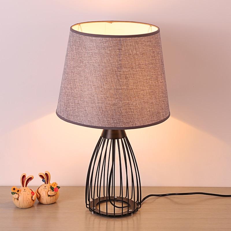 Фото Simple cloth+iron table lamps romantic wedding gift bedroom bed lamp warm living room lighting decorative table lights ZA
