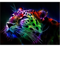 Full Diamond Mosaic 5D DIY Diamond Painting Colorful Leopard Mosaic Round Rhinestone Embroidery Child Puzzle Cross