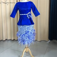 Two Pieces Mother Of The Bride Dresses Short Blue 3/4 Sleeve Women Formal Evening Dress Lace Mother Of The Groom Dresses