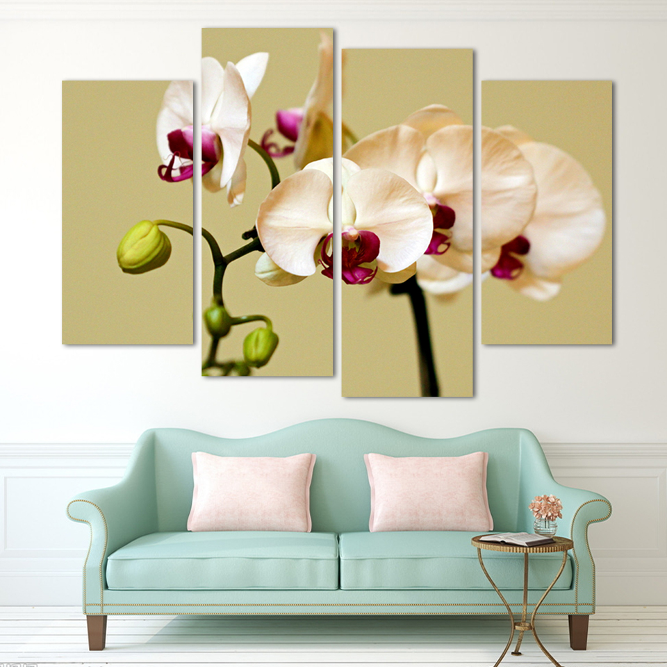 4 Piece Wall Art No Framed Modern Abstract HD Flower Orchid Picture ...