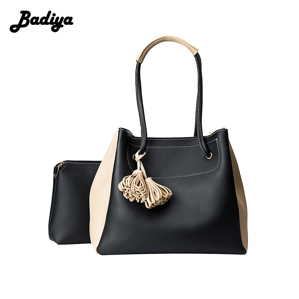 Fashion Tassel Women Composite Black Handbags Large Capacity Solid Shoulder Bags For Women PU Leather Female Ladies Bag