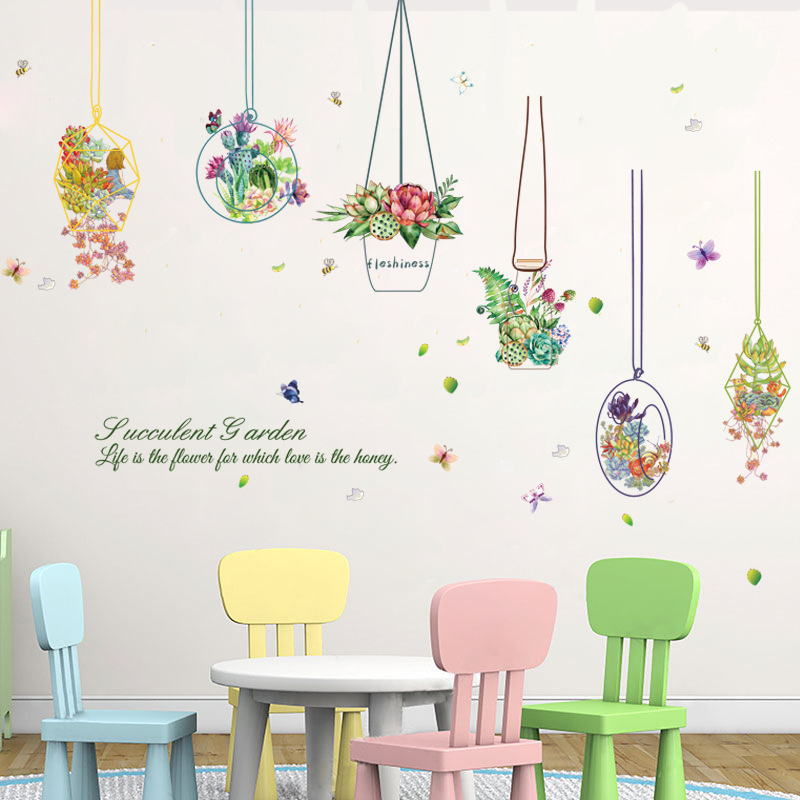 Succulents Basket Painting Wall Sticker Home Decor DIY Kids Room Decals Living Room Background Mural Art Poster Window Stickers