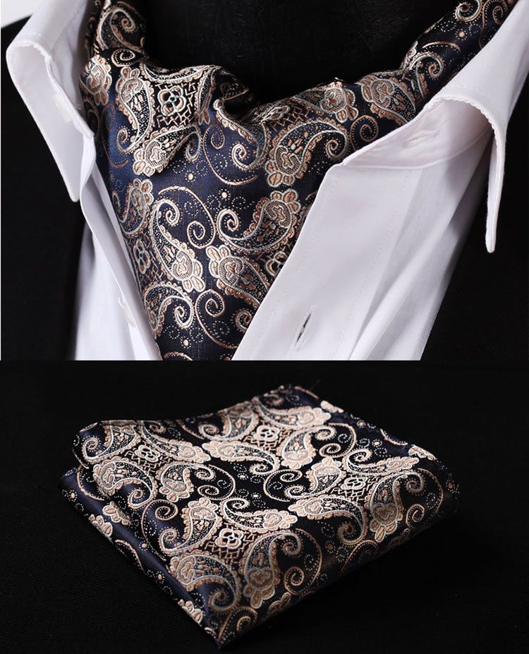 Aliexpress.com : Buy RF301D Gold Navy Blue Paisley Floral Silk ...