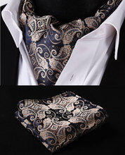 RF301D Gold Marineblau Paisley Floral Silk Halstuch Gewebt Ascot Krawatte Einstecktuch Einstecktuch Suit Set