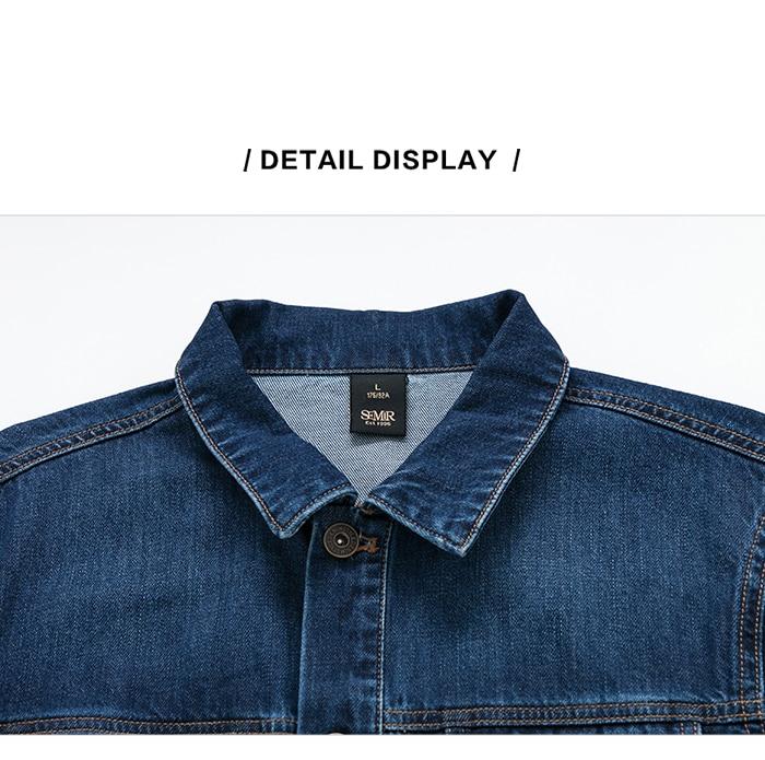SEMIR Men Denim Jacket Men Washed Denim Jacket Classic Denim Jacket with Collar for Men Casual Fashion Spring Autumn Clothes