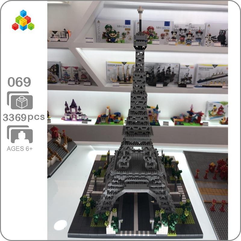YZ 069 célèbre Architecture Paris tour Eiffel modèle 3D 3369 pièces Mini bâtiment diamant Nano blocs jouet pour enfants cadeau